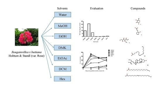 Characterization of Chemical Compounds with Antioxidant and Cytotoxic Activities in Bougainvillea x buttiana Holttum and Standl, var. Rose Extracts
