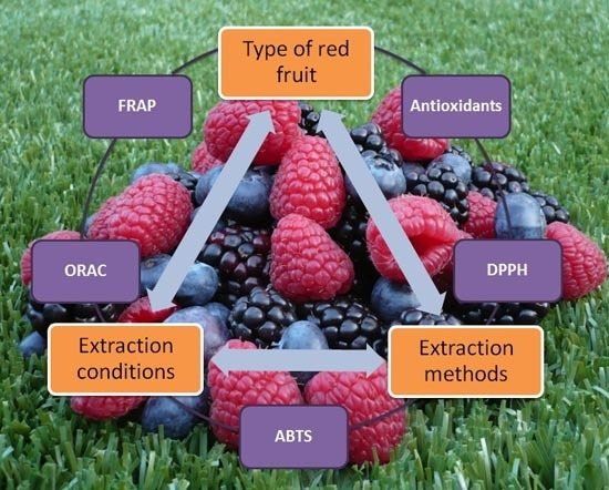 Red Fruits: Extraction of Antioxidants, Phenolic Content, and Radical Scavenging Determination: A Review