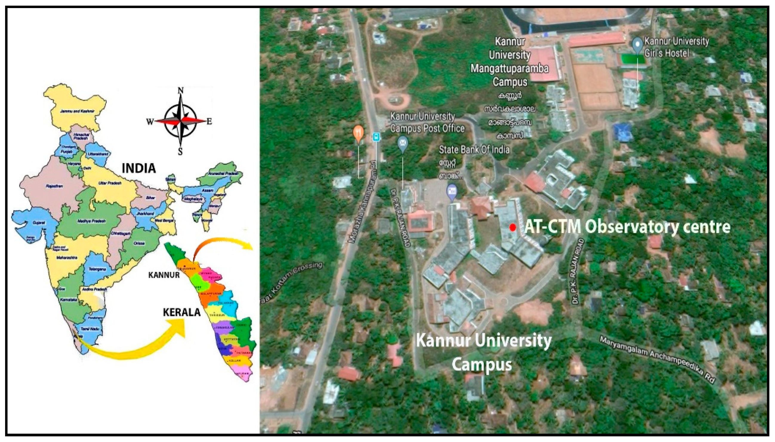 Aerial view of Kannur University Campus