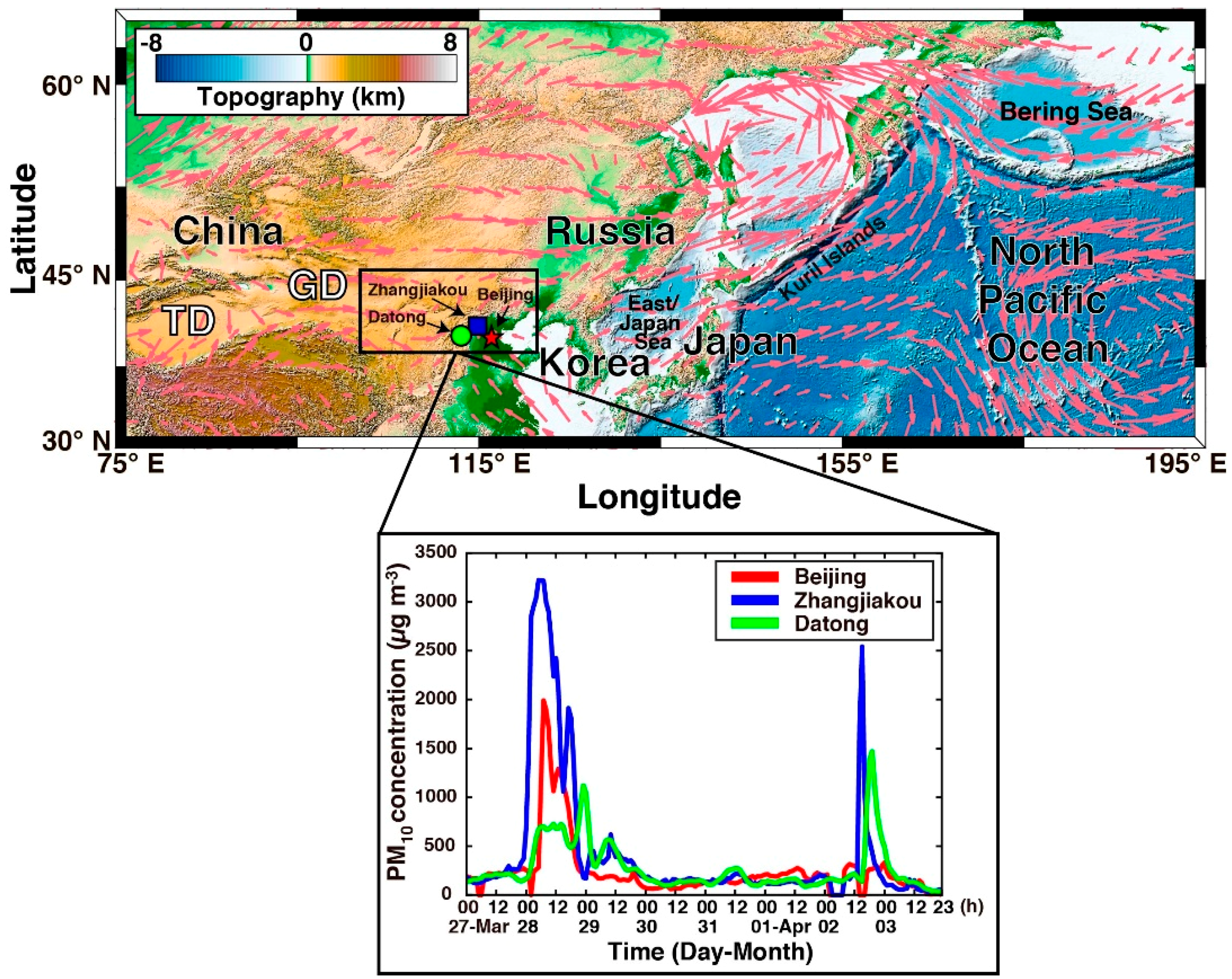 Map Of Upper Asia.Atmosphere Free Full Text Spring 2018 Asian Dust Events Sources
