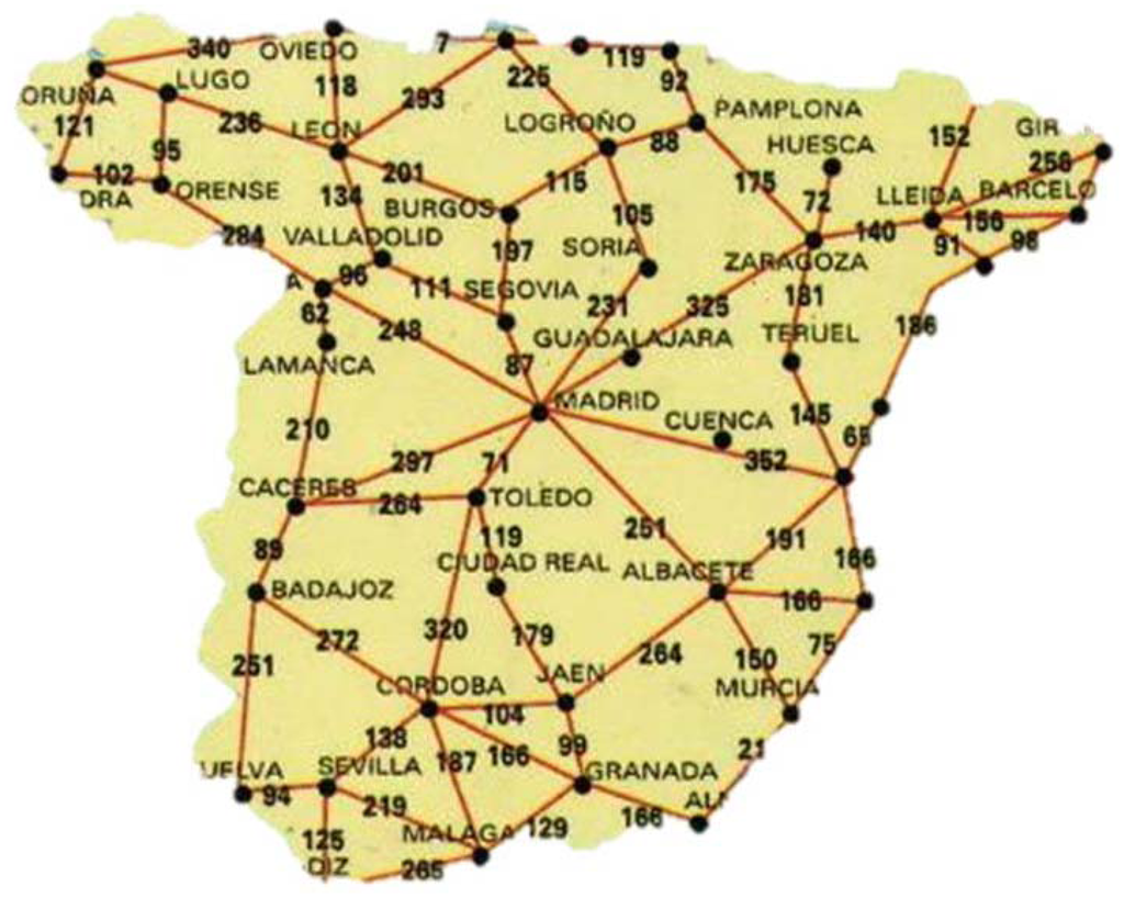 Map Of Spain With Distances.Energies Free Full Text Planning Minimum Interurban Fast