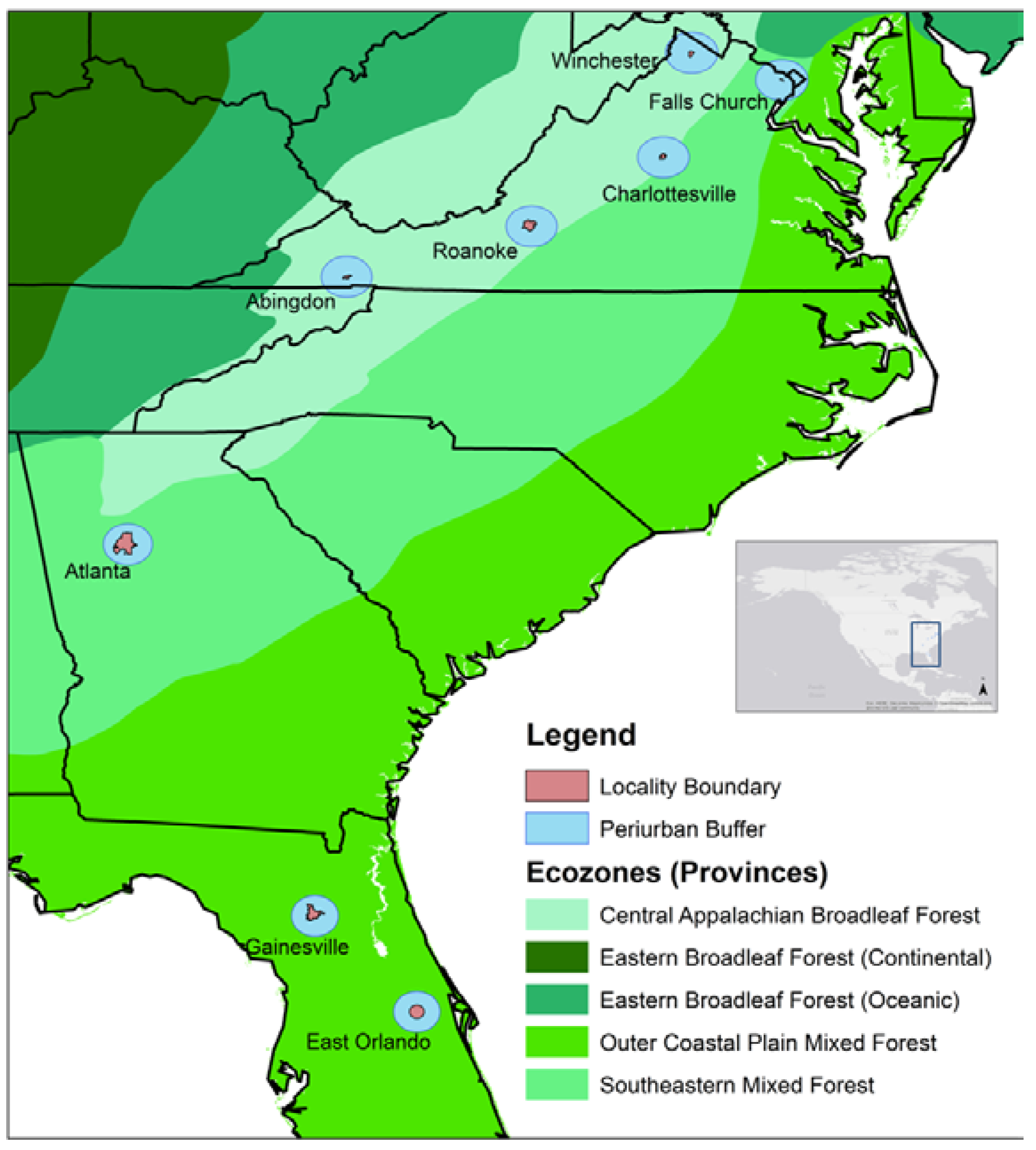 Forests Free FullText How Do Urban Forests Compare Tree - Map southeastern us