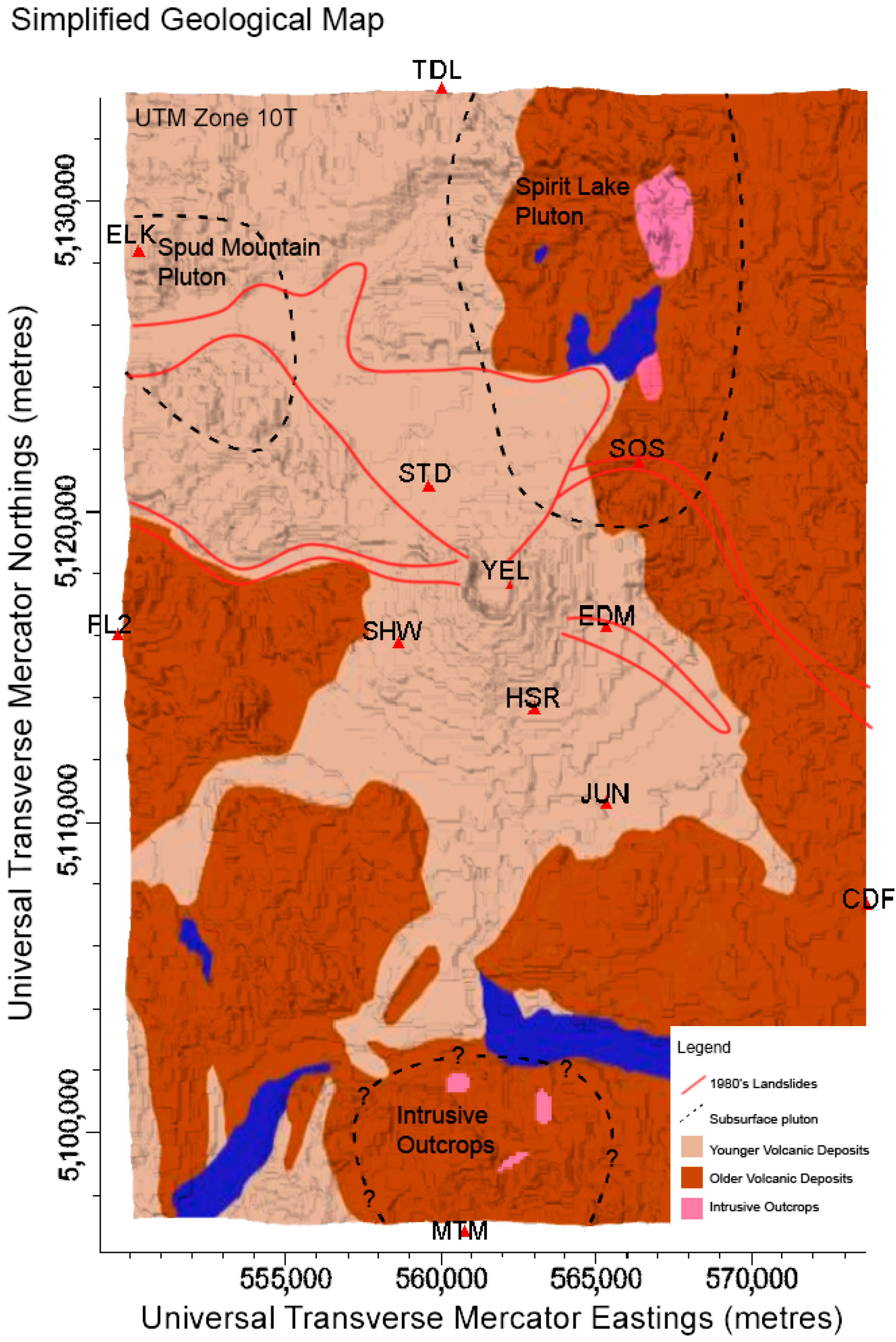 Geosciences Free FullText Investigating The Apparent Seismic - Mt st helens on us map