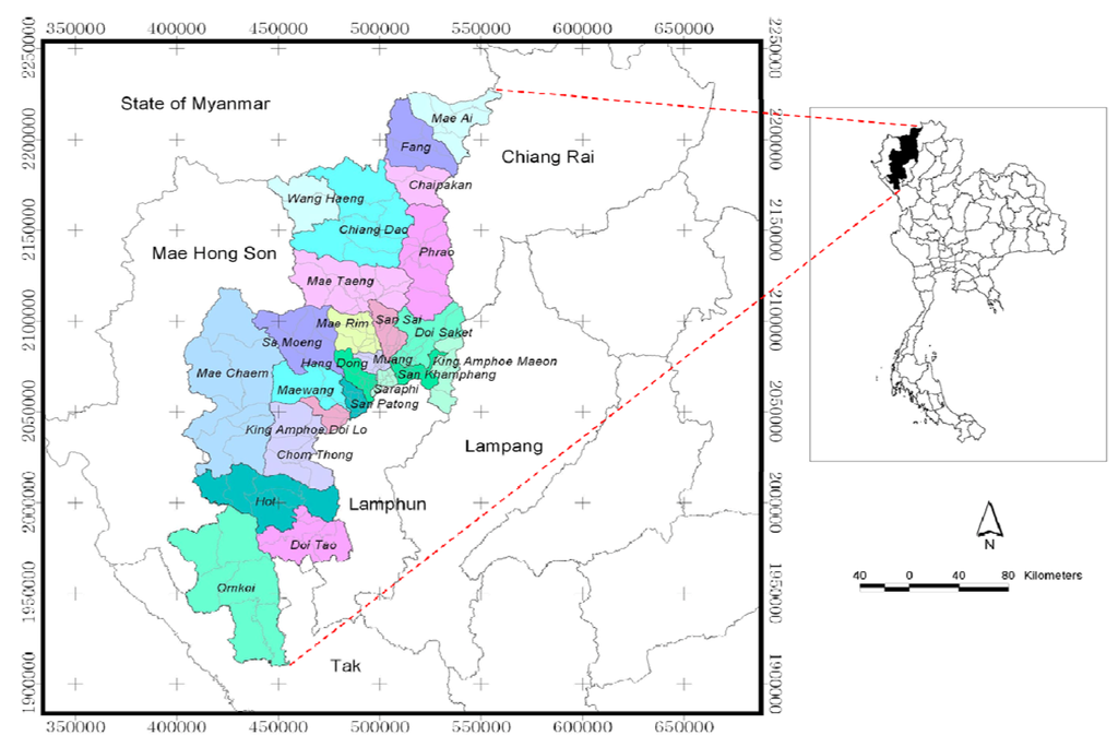 Which districts in CM suffer the leastmost from burning Chiang