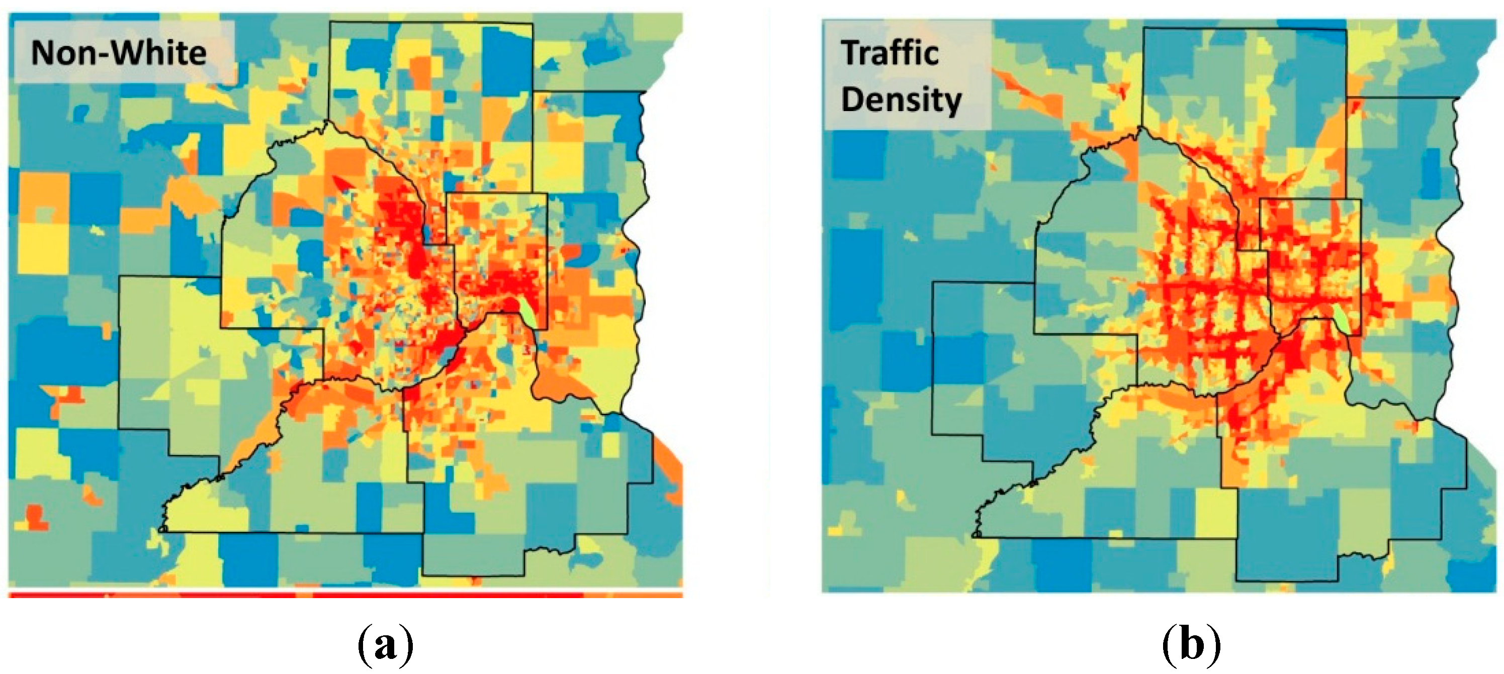 IJERPH | Free Full-Text | Traffic, Air Pollution, Minority and Socio on city traffic map, new orleans traffic map, manila traffic map, washington traffic map, dallas fort worth traffic map, hampton roads traffic map, minneapolis real-time traffic, hawaii traffic map, massachusetts traffic map, minneapolis roads, minneapolis events, las vegas traffic map, minneapolis library, minneapolis weather, texas traffic map, galveston traffic map, san francisco bay area traffic map, buffalo traffic map, orlando traffic map, mississippi traffic map,