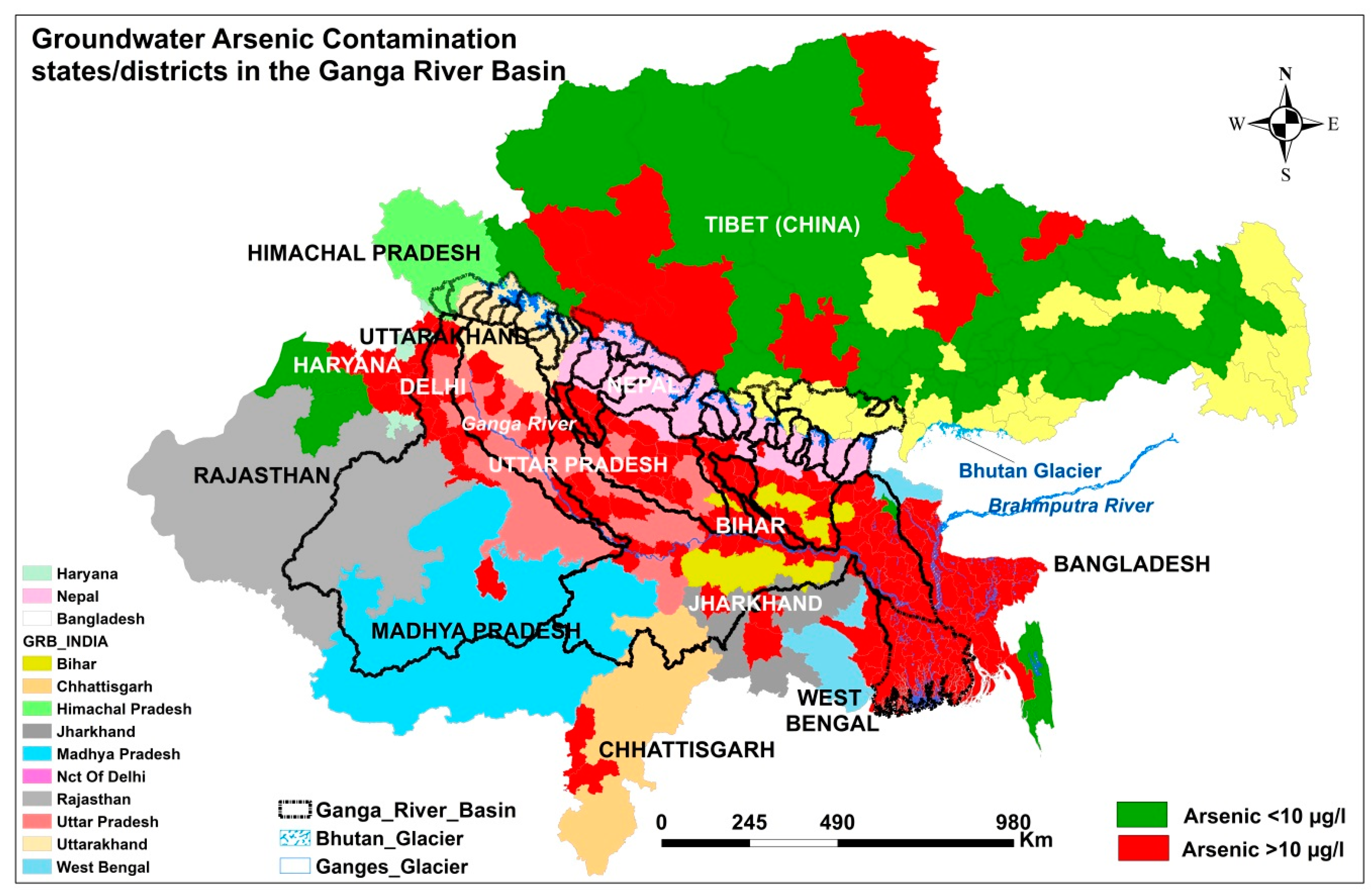 Groundwater arsenic contamination in Bangladesh and West Bengal, India.