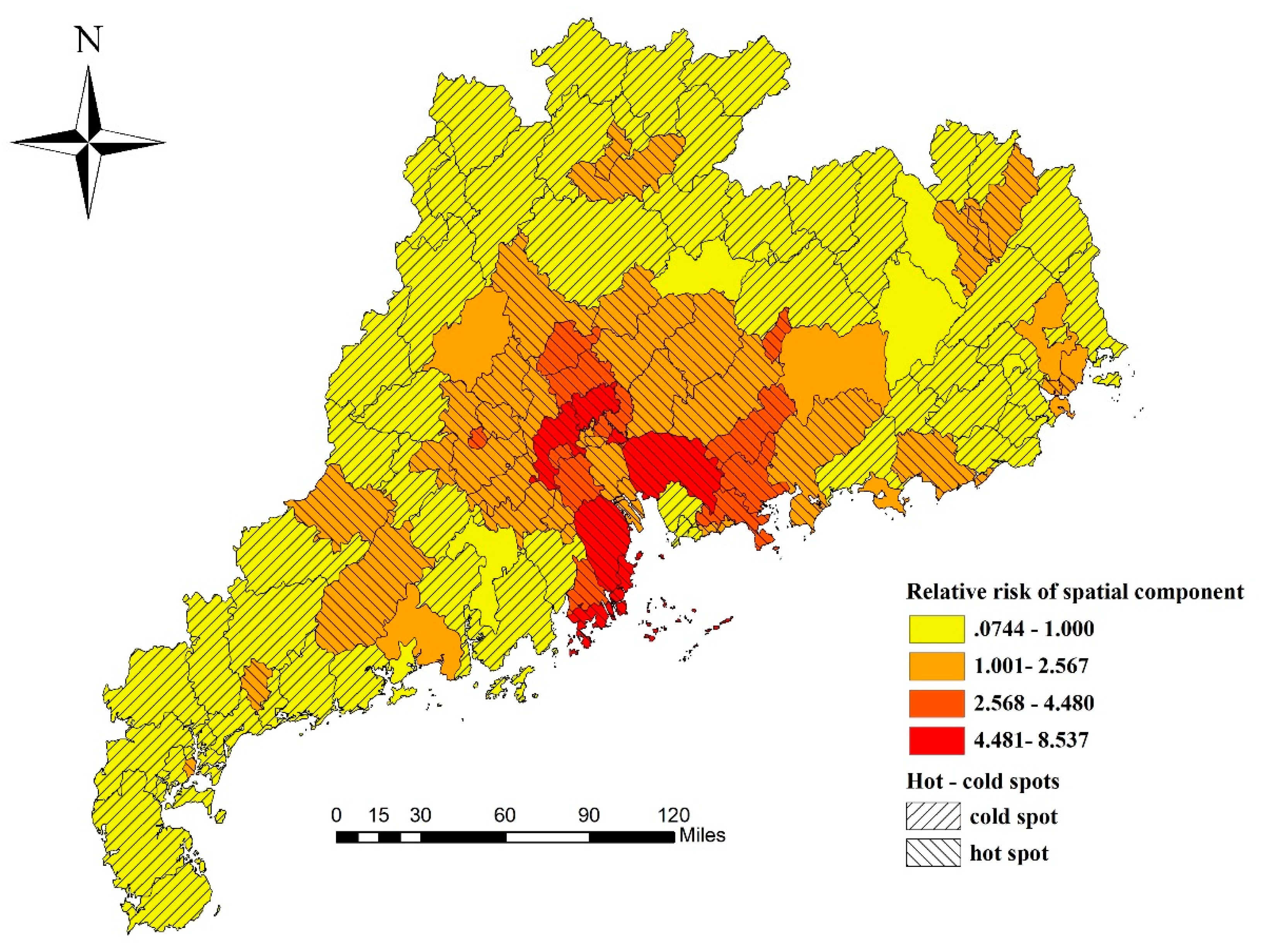 Spatiotemporal Distribution of Hand, Foot, and Mouth Disease in Guangdong Province, China and Potential Predictors, 2009–2012