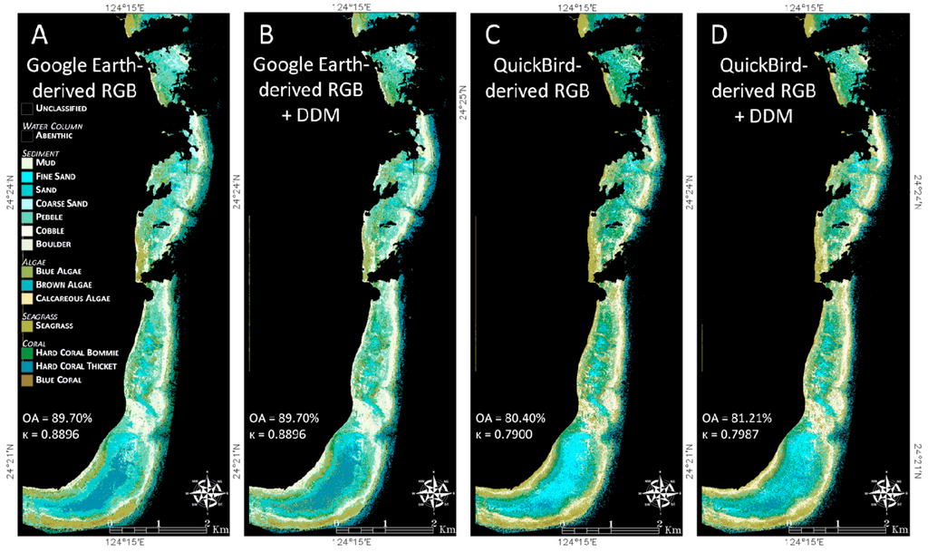 how to find water depth in google earth