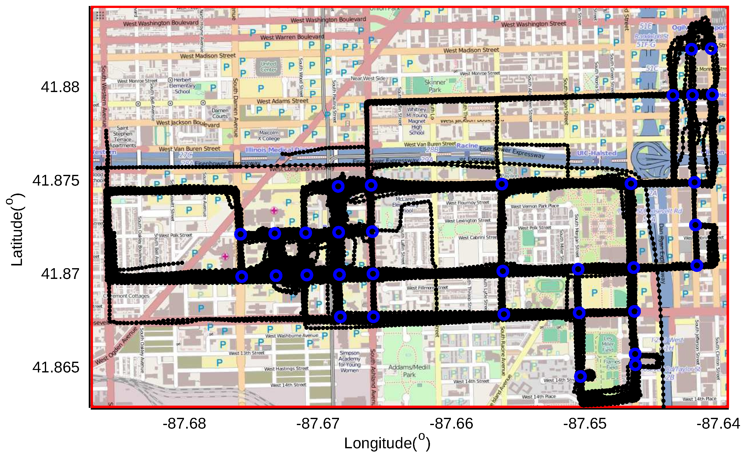 IJGI Free FullText Detecting Road Intersections From GPS - Chicago map gps