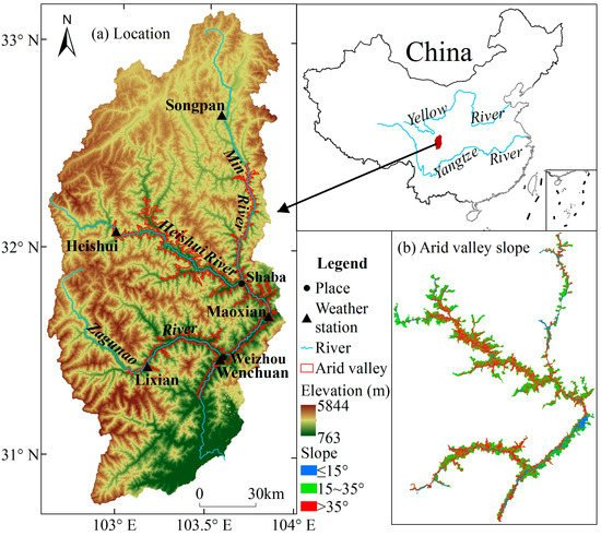 Exploring the Relationship between the Arid Valley Boundary's Displacement and Climate Change during 1999–2013 in the Upper Reaches of the Min River, China