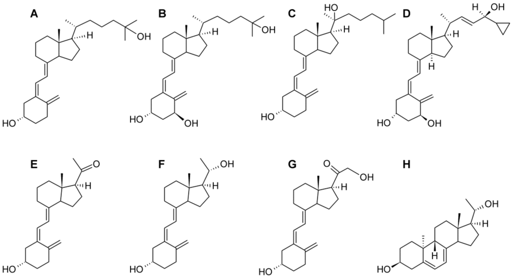 Vitamin D1 Structure Chemical structures of the