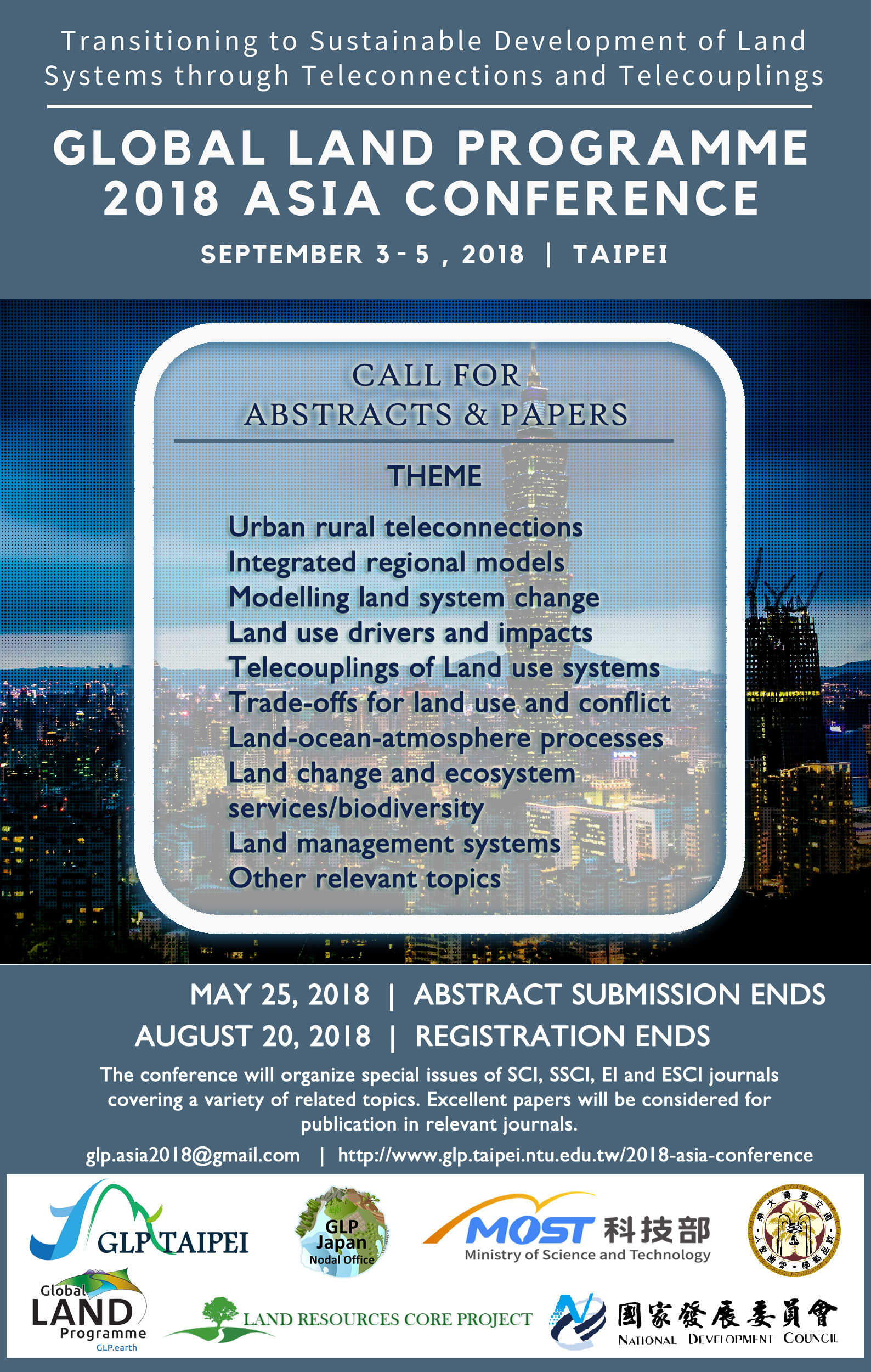 """3–5 September 2018 Global Land Programme 2018 Asia Conference  """"Transitioning to Sustainable Development of Land Systems through  Teleconnection and ..."""