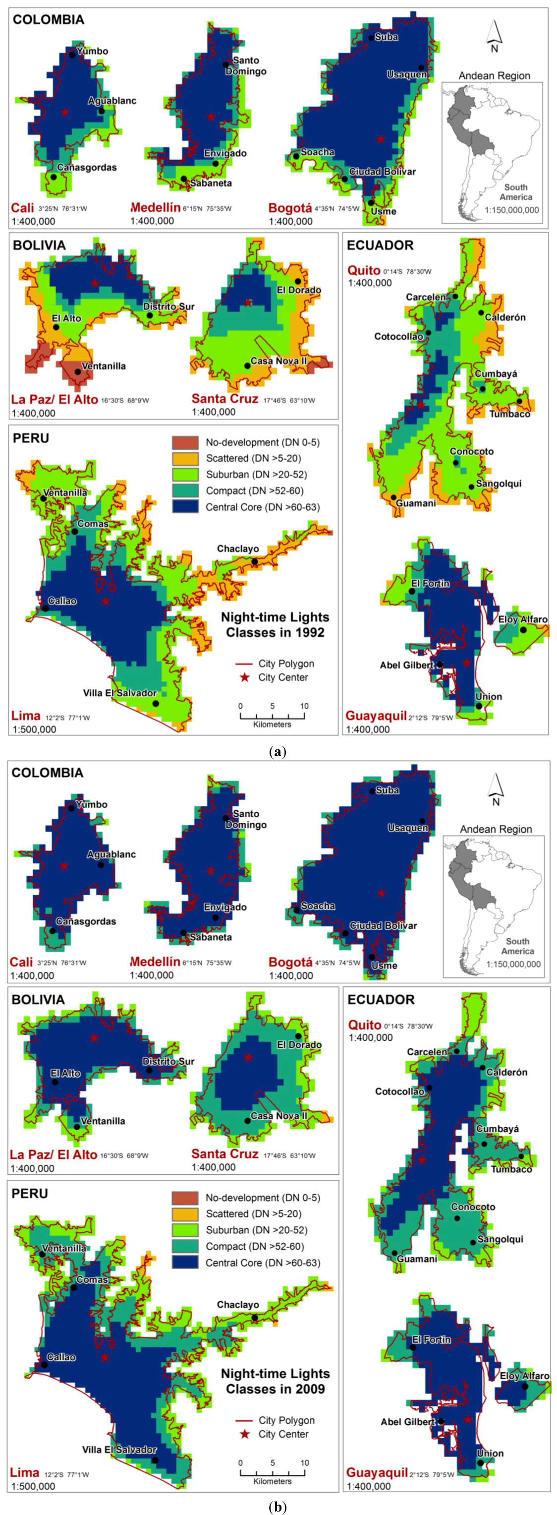 Land Free FullText Mapping Urbanization Dynamics In Major - Bolivia cities map