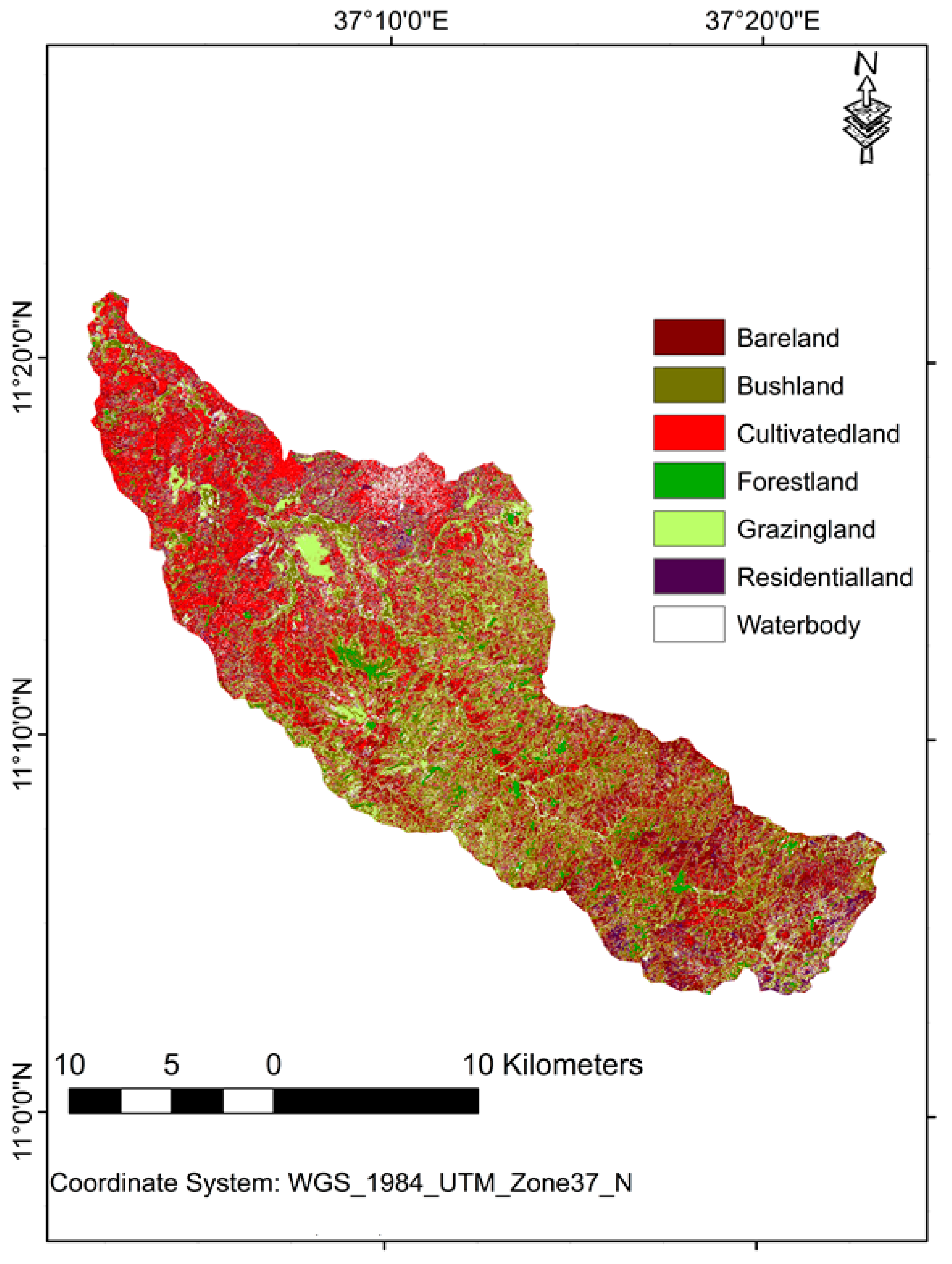 Land Free Full Text Land Use Evaluation Over The Jema Watershed In The Upper Blue Nile River Basin Northwestern Highlands Of Ethiopia Html