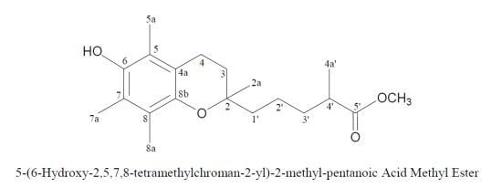 5-6-Hydroxy-2,5,7,8-tetramethylchroman-2-yl-2-methyl-pentanoic Acid Methyl Ester