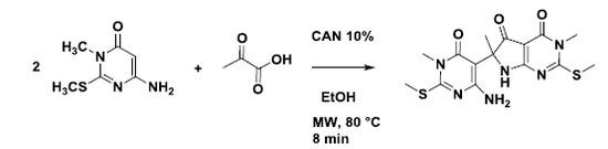 6-4-Amino-1-methyl-2-methylthio-6-oxo-1,6-dihydro-pyrimidin-5-yl-3,6-dimethyl-2-methylthio-6,7-dihydro-3H-pyrrolo2,3-dpyrimidine-4,5-dione
