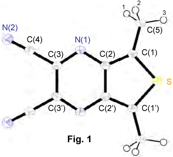 o-Quinonoid Heterocycles: Synthesis and Crystal Structure of 2,3-Dicyano-5,7-bismethylthieno3,4-bpyrazine