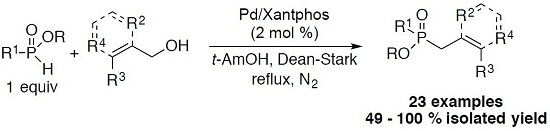 Palladium-Catalyzed Allylation-Benzylation of H-Phosphinate Esters with Alcohols