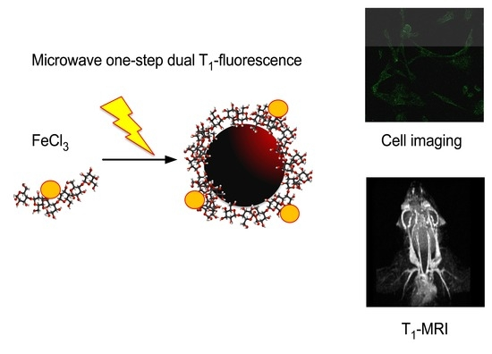 T1-MRI Fluorescent Iron Oxide Nanoparticles by Microwave Assisted Synthesis