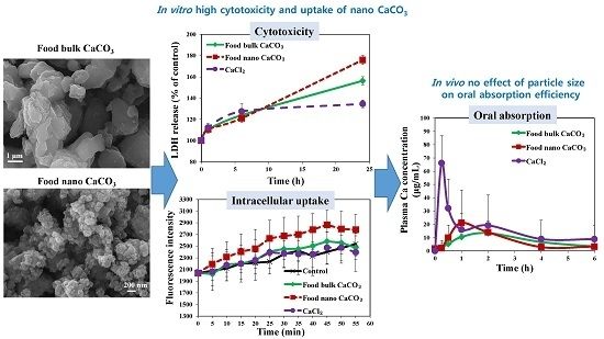 Cytotoxicity, Uptake Behaviors, and Oral Absorption of Food Grade Calcium Carbonate Nanomaterials