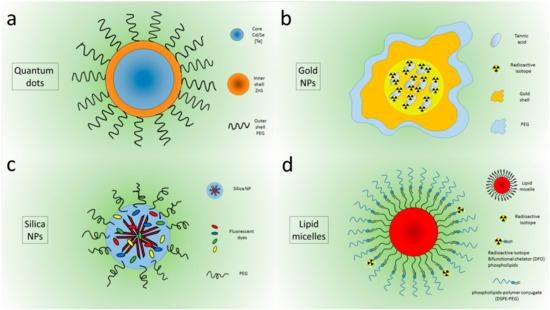 Peghilated Quantum dots (a), Au nanoparticles (b) Silica Nanoparticles (c), micelles (d).