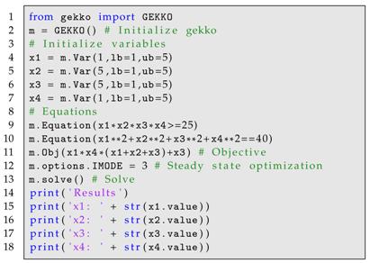 Processes   Free Full-Text   GEKKO Optimization Suite   HTML