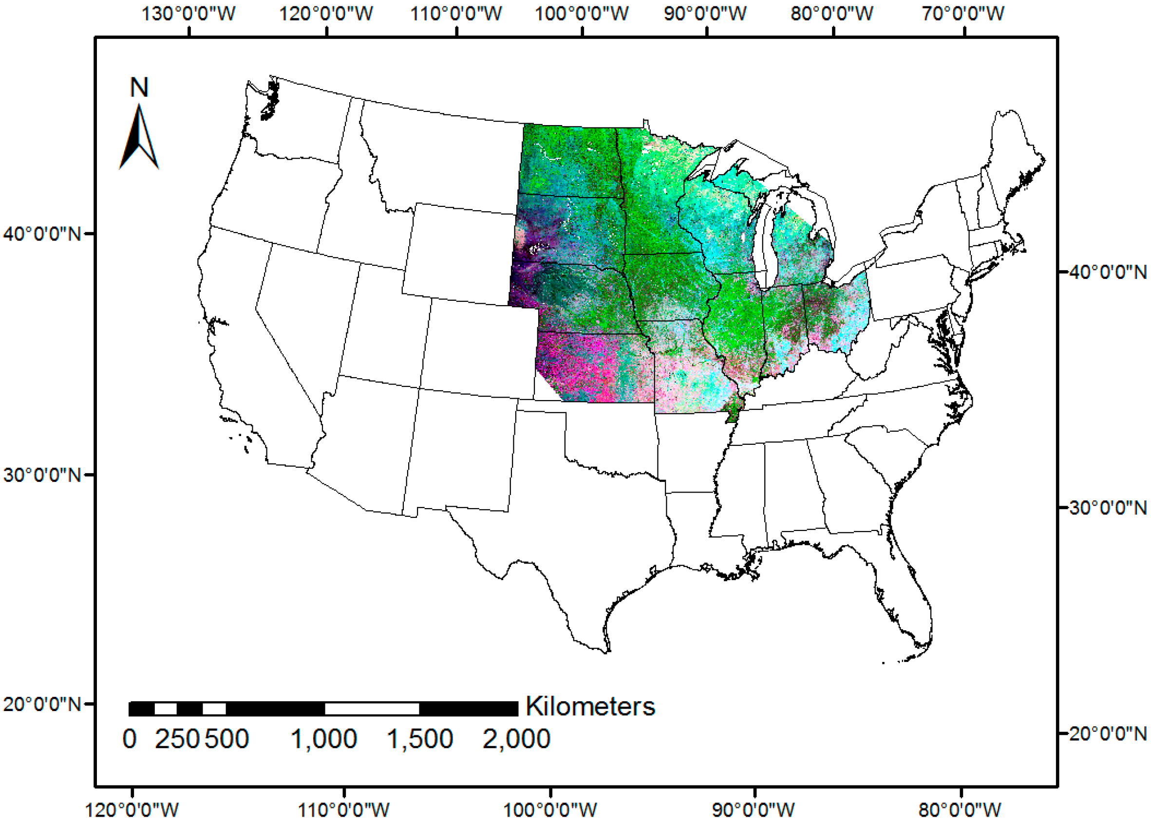 Remote Sensing Free FullText MODISBased Fractional Crop - Map us midwest