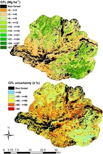 Extrapolating Forest Canopy Fuel Properties in the California Rim Fire by Combining Airborne LiDAR and Landsat OLI Data