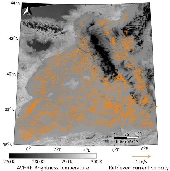Sea Surface Currents Estimated from Spaceborne Infrared Images Validated against Reanalysis Data and Drifters in the Mediterranean Sea