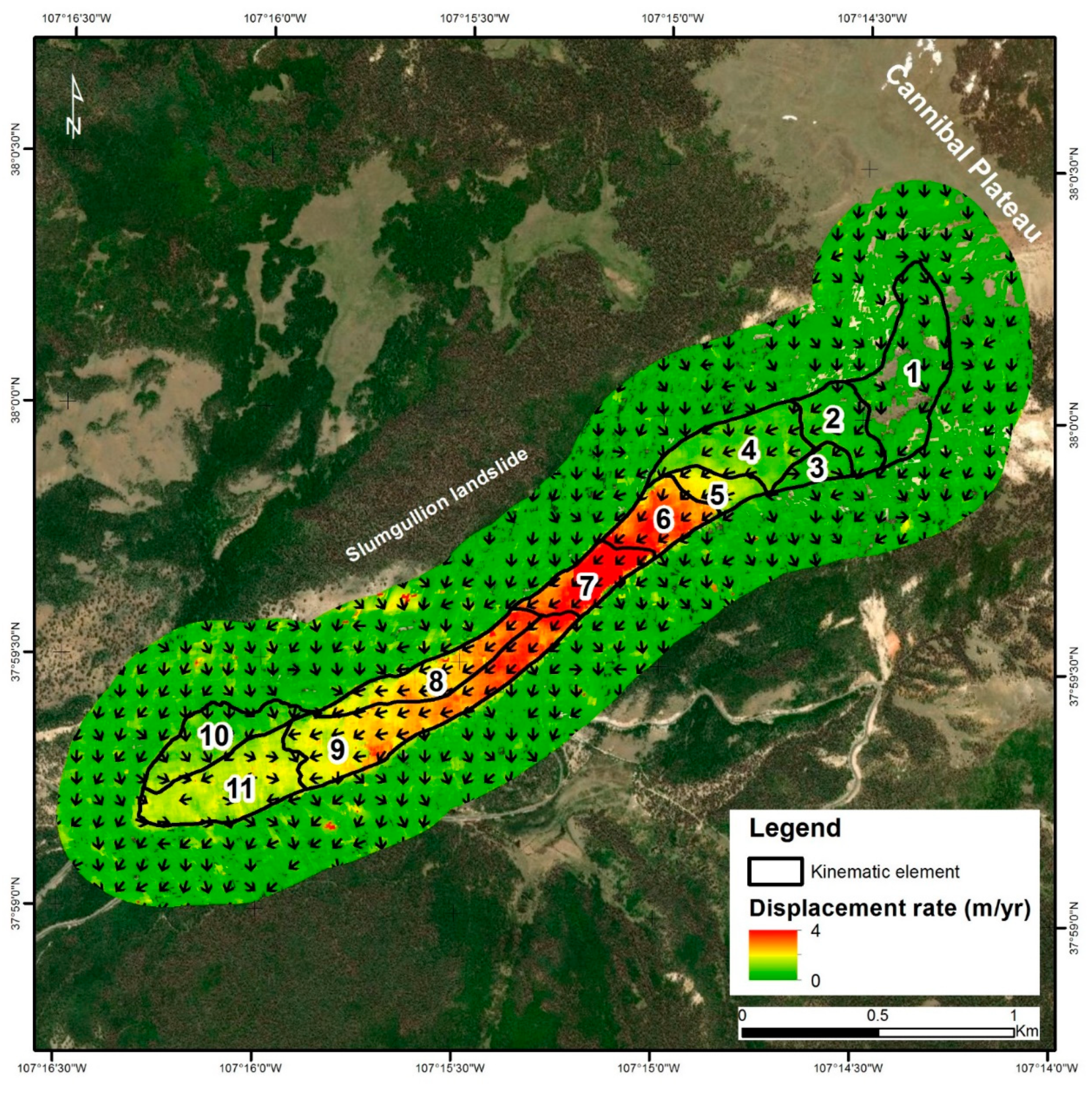 Remote Sensing Free Full Text Long Term Satellite Monitoring Of The Slumgullion Landslide Using Space Borne Synthetic Aperture Radar Sub Pixel Offset Tracking Html