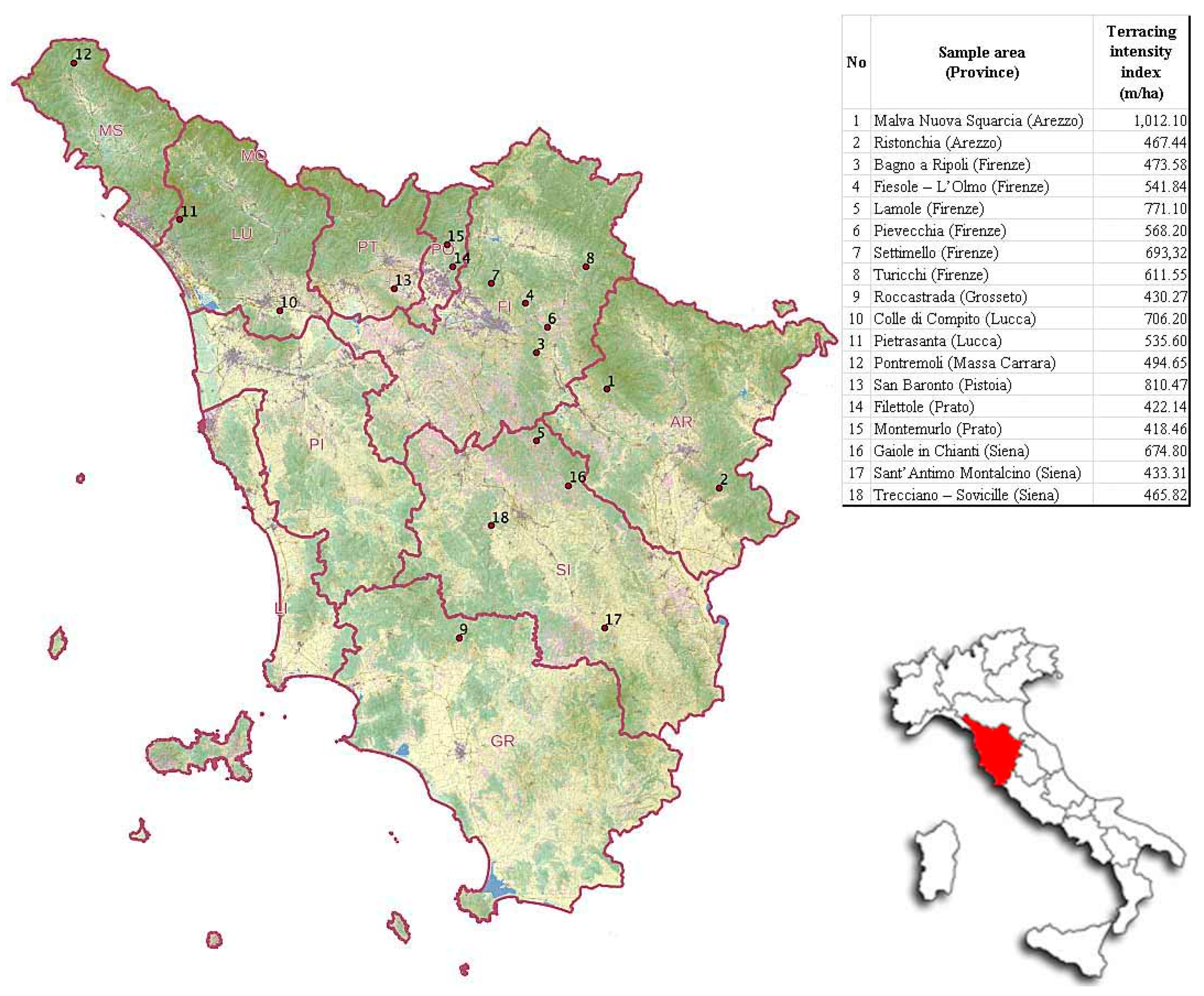 Sustainability Free FullText Features Analysis Of Dry Stone - Tuscany on italy map
