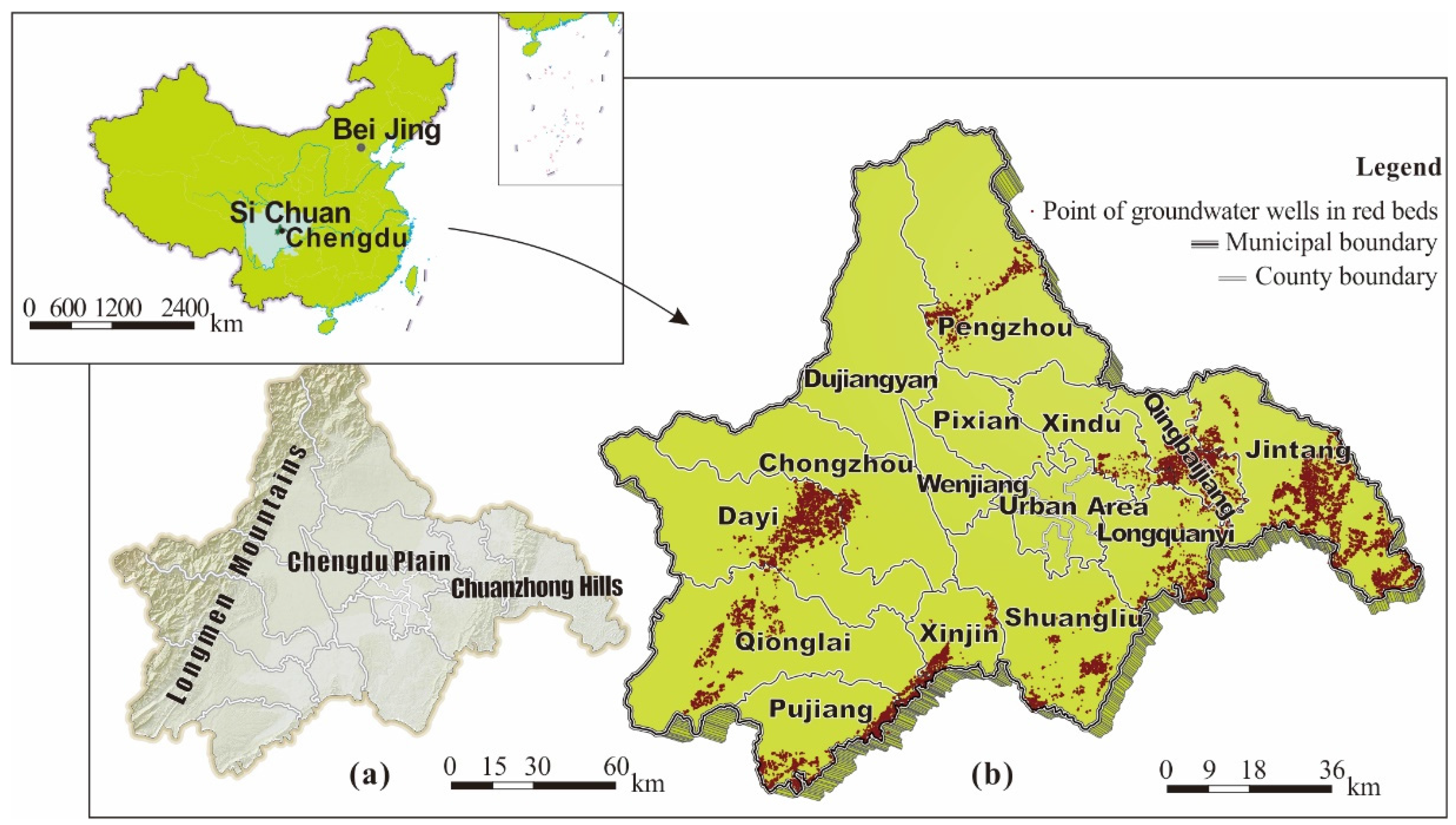 Evaluation and Clustering Maps of Groundwater Wells in the Red Beds of Chengdu, Sichuan, China
