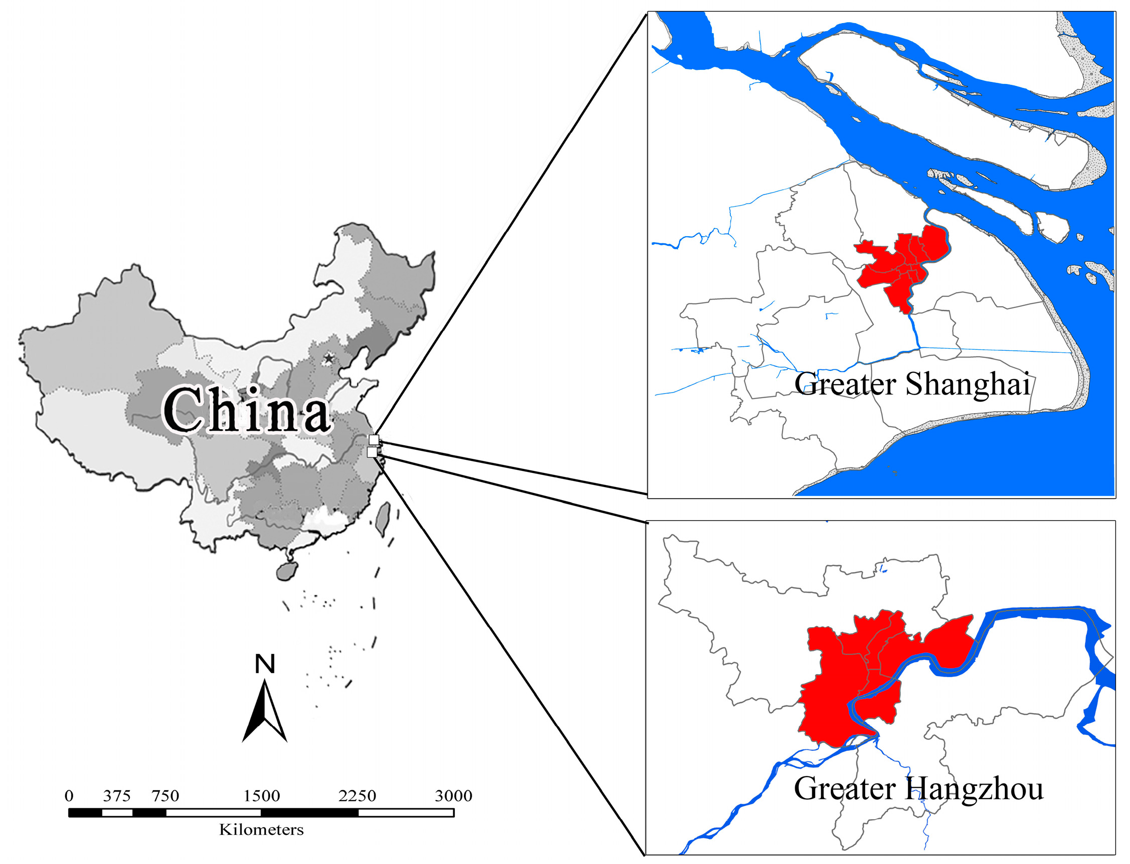 Analyzing Three-Decadal Patterns of Land Use/Land Cover Change and Regional Ecosystem Services at the Landscape Level: Case Study of Two Coastal Metropolitan Regions, Eastern China