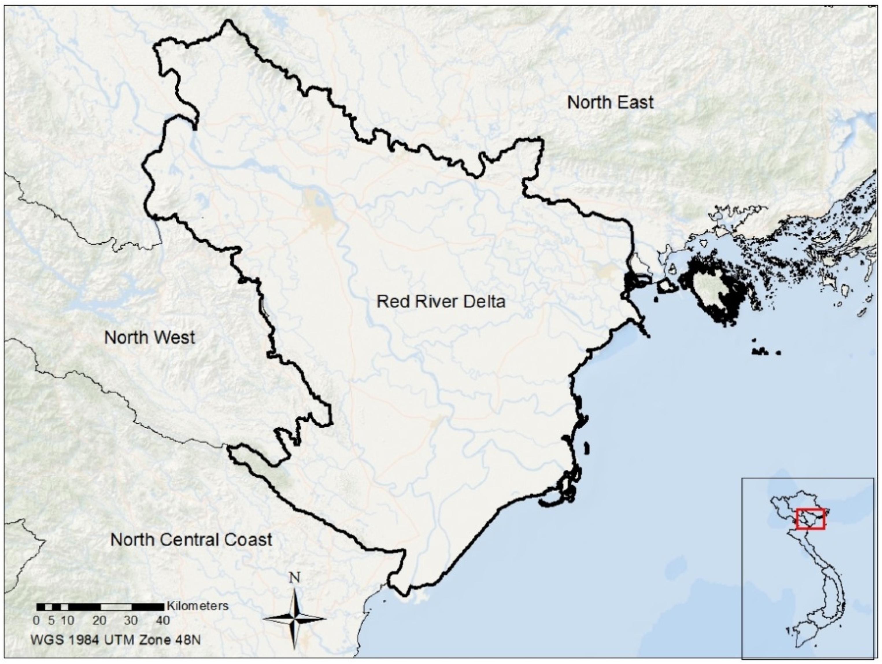 Image result for red river delta vietnam map