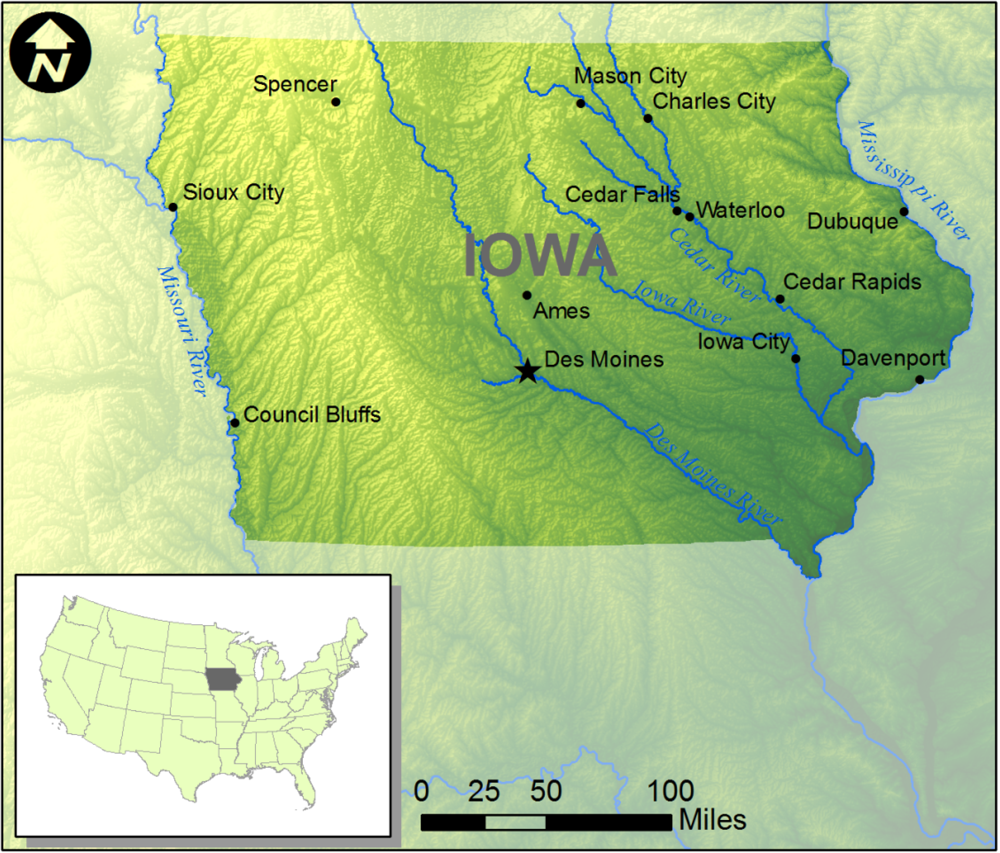 Water Free FullText Inundation Mapping Initiatives Of The - Iowa river map