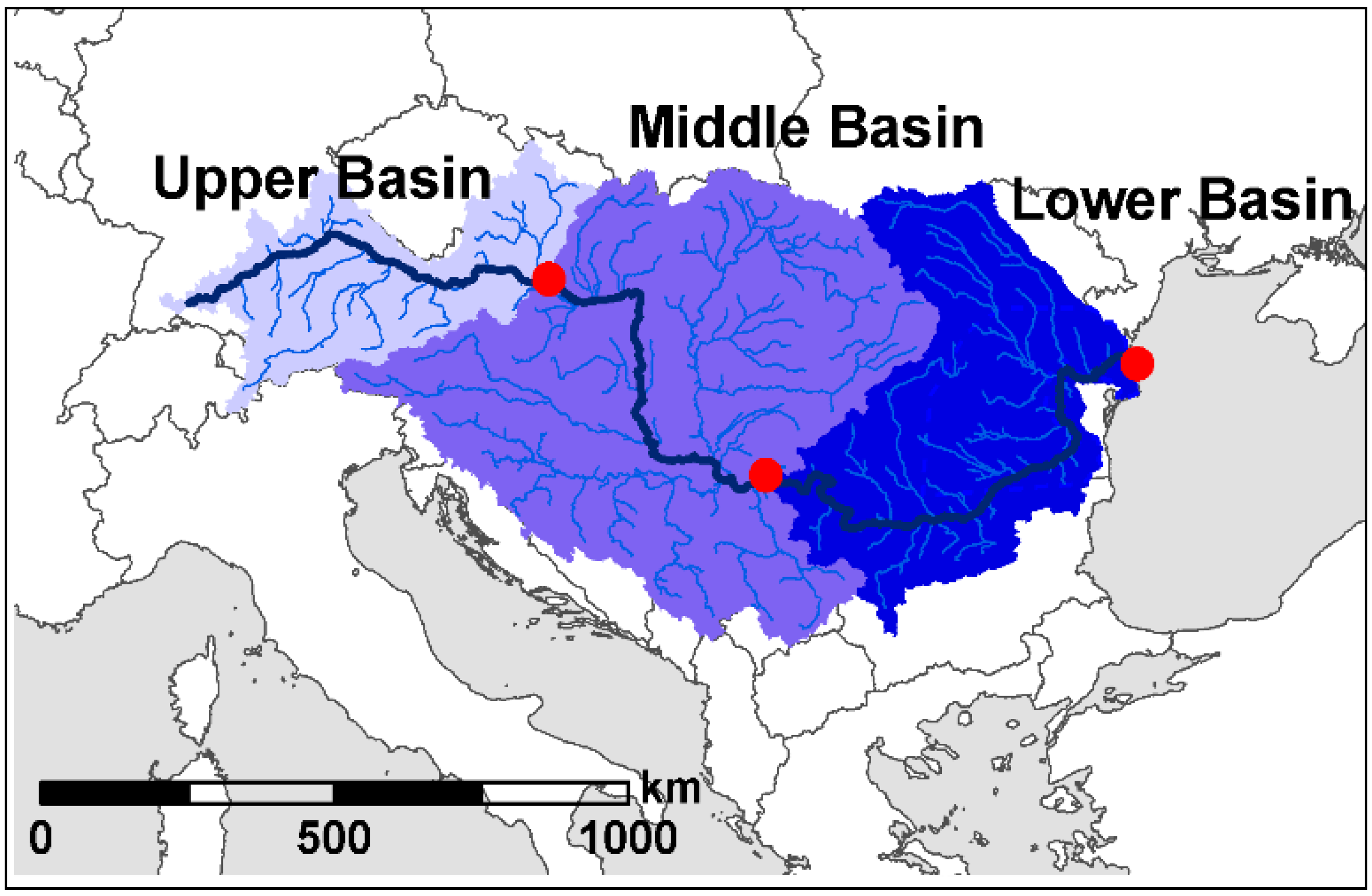 Water Free FullText Impacts Of Climate Change On The - Danube river location on world map