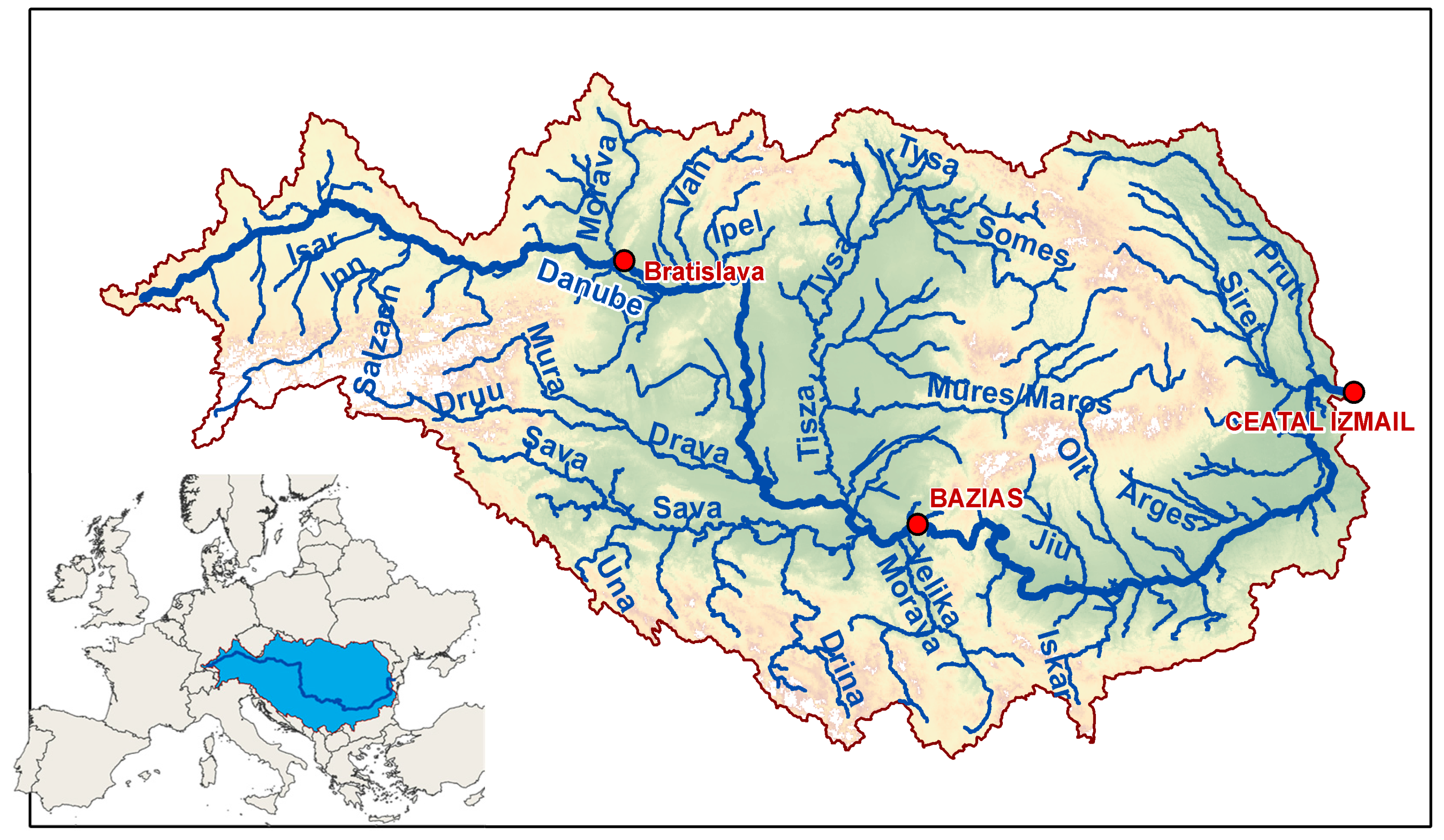 Water Free FullText Impacts Of Climate Change On Riverine - Danube river on world map