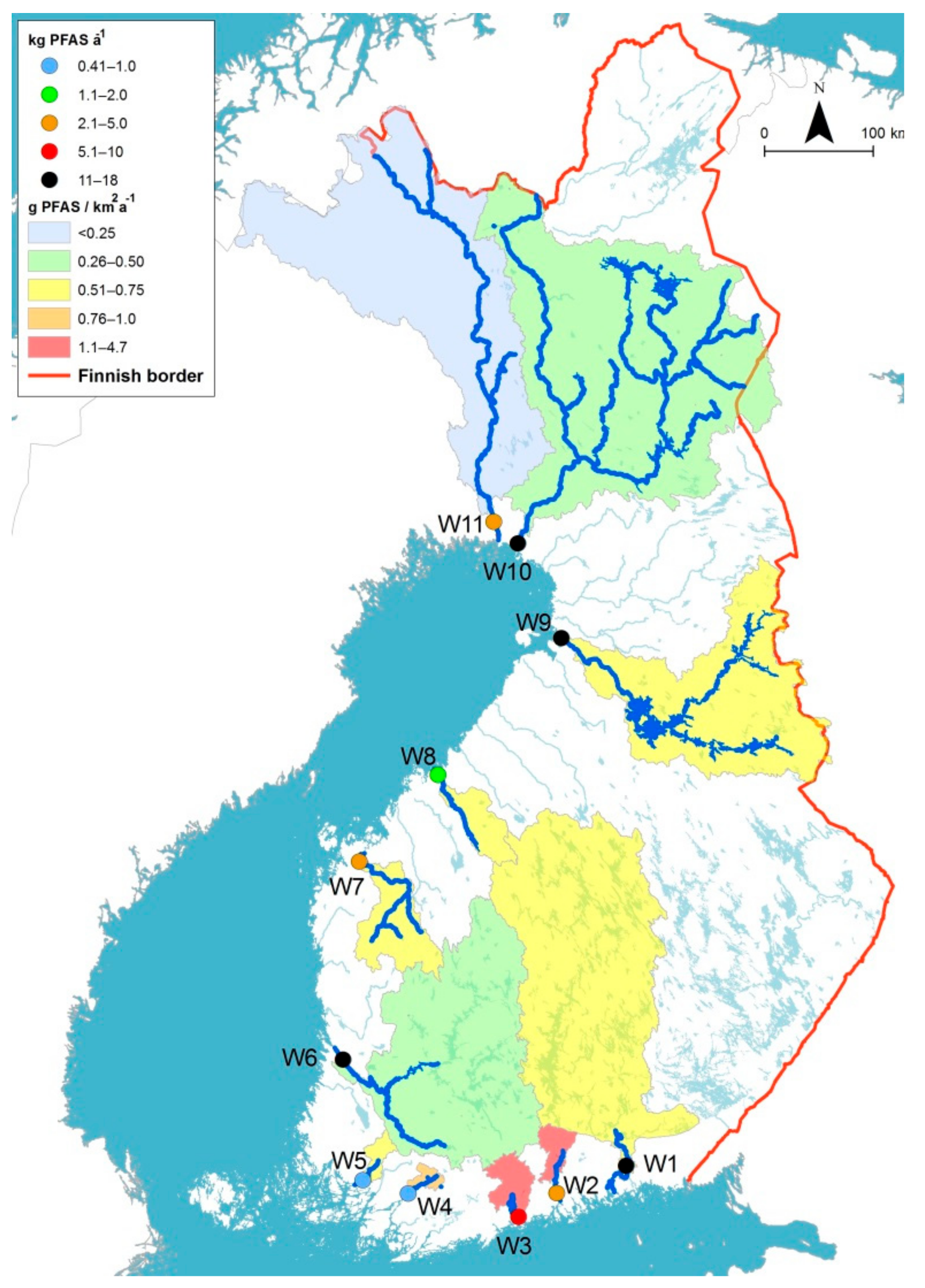 Water | Free Full-Text | PFASs in Finnish Rivers and Fish